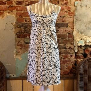 Loft black and white floral midi dress